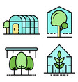 greenhouse icons set line color vector image vector image