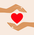 hands giving love symbol vector image vector image