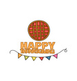 Happy Thanksgiving Day banner sign with a pie vector image