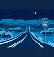 highway to the west at night vector image vector image