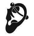 human ear with piercing icon simple vector image vector image