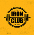 iron club gym workout barbell stamp design vector image