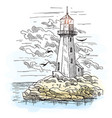 island with rocks and lighthouse building vector image vector image