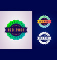 iso 9001 certified badge three color variants vector image