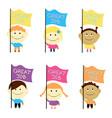 kids set children looking up vector image