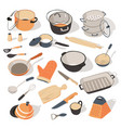 kitchenware and dishes for kitchen set of vector image