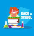 little student girl with school books vector image