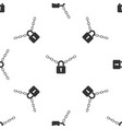 metal chain and lock icon seamless pattern vector image vector image