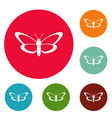 nice butterfly icons circle set vector image