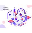 online retailer isometric modern flat design vector image vector image