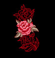 peony flower embroidery with lace vector image