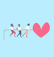 people pulling rope big pink heart shape happy vector image