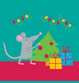 rat preparing for christmas vector image
