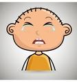 Sad crying cartoon of little boy over white