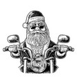 santa claus riding a motorcycle vintage vector image