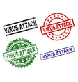 scratched textured virus attack stamp seals vector image vector image