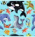 seamless pattern cute cartoon water animals vector image