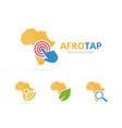 set of africa logo combination safari and cursor vector image