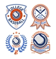 Set of old style Baseball Labels with ball and vector image vector image