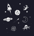 space objects set vector image