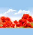 summer nature background with red poppy flowers vector image vector image