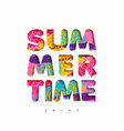 summer time multicolor quote in fun 3d paper cut vector image vector image