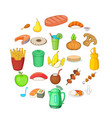 tropical breakfast icons set cartoon style vector image vector image
