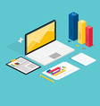 Web of analytics process with claptop and vector image vector image