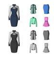 women clothing cartoonmonochrome icons in set vector image vector image