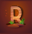 wooden letter r decorated with grass vector image vector image