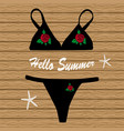 black bikini with flowers vector image