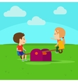 Boy and girl on playground vector image