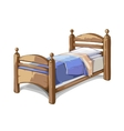 Wood bed in cartoon style vector image