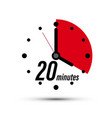 20 minutes clock icon isolated on white background vector image vector image