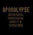 80 s retro alphabet font apocalypse type letters vector image vector image
