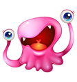 A very excited pink monster vector image vector image