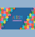 autism awareness day colorful paper cut puzzle vector image vector image