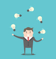 businessman juggling light bulbs vector image vector image