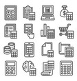 calculator and calculation icons set on white vector image vector image