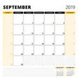 calendar planner for september 2019 stationery vector image vector image