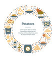 cartoon color potato banner card circle vector image