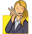 Cartoon of Happy Office Worker Girl vector image vector image