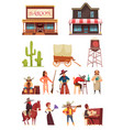 cowboy wild west set vector image