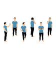 crowd of people with smartphones men teens young vector image