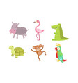 cute african animals set turtle monkey parrot vector image vector image