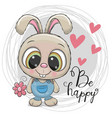 cute cartoon rabbit with flower vector image vector image
