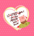 cute valentines day card with pig vector image vector image