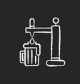 draught beer chalk white icon on black background vector image