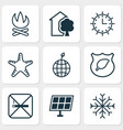 ecology icons set with eco home starfish vector image vector image