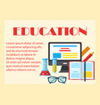 education colorful horizontal banner vector image vector image